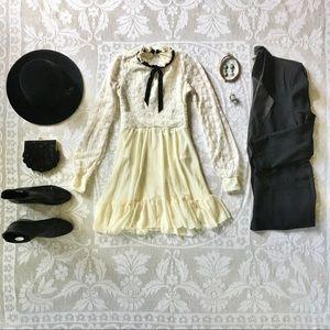 Weissman Crochet-Lace Long-Sleeve Day Dress ivory